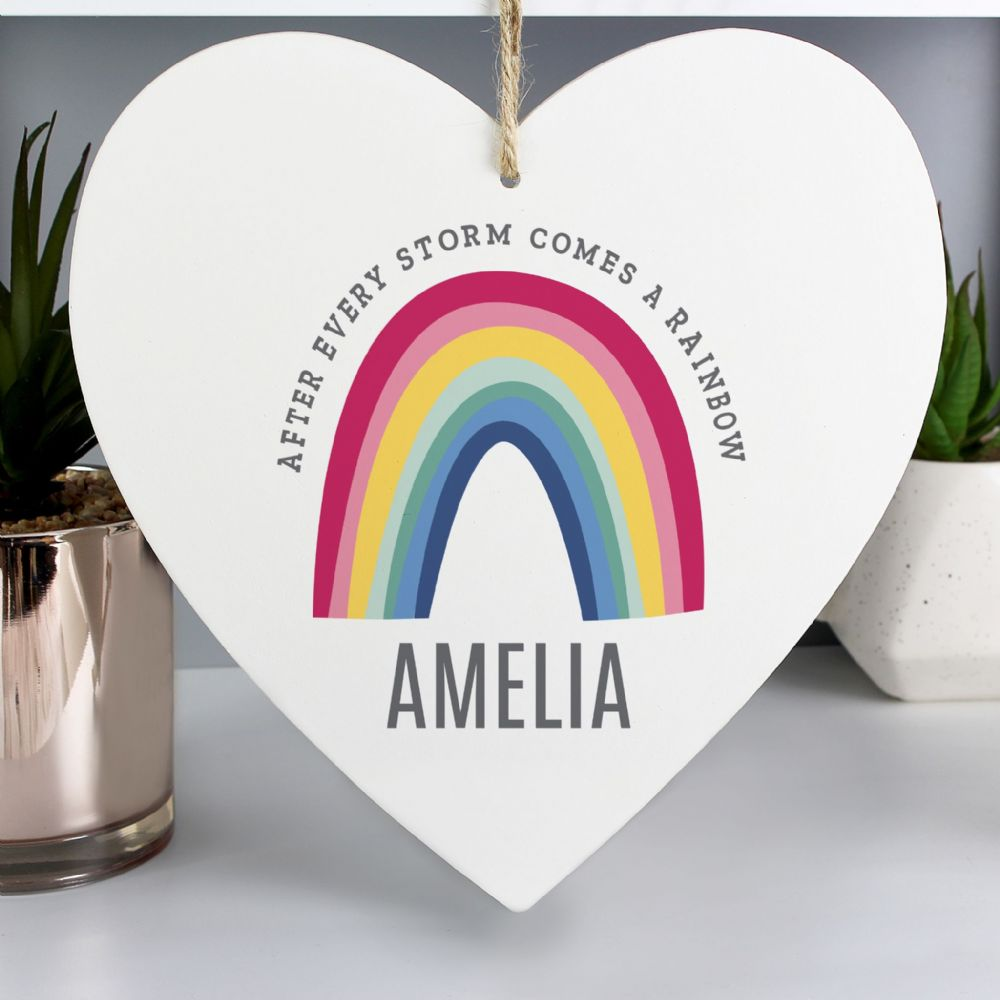 Personalised Rainbow Large Wooden Heart Decoration - ideal gift for NHS, Thank You
